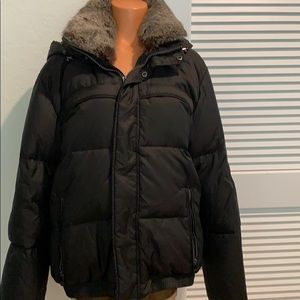 Real Fur blk puffer coat - worn once Andrew Marc